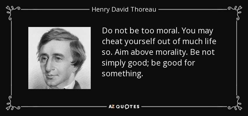 Do not be too moral. You may cheat yourself out of much life so. Aim above morality. Be not simply good; be good for something. - Henry David Thoreau