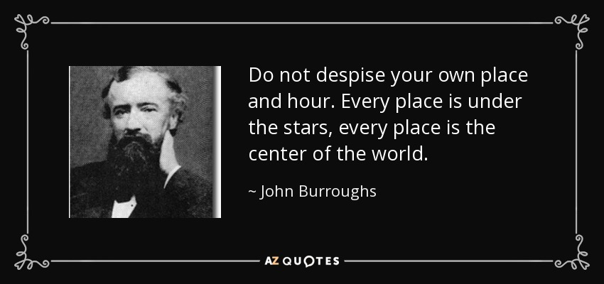 Do not despise your own place and hour. Every place is under the stars, every place is the center of the world. - John Burroughs