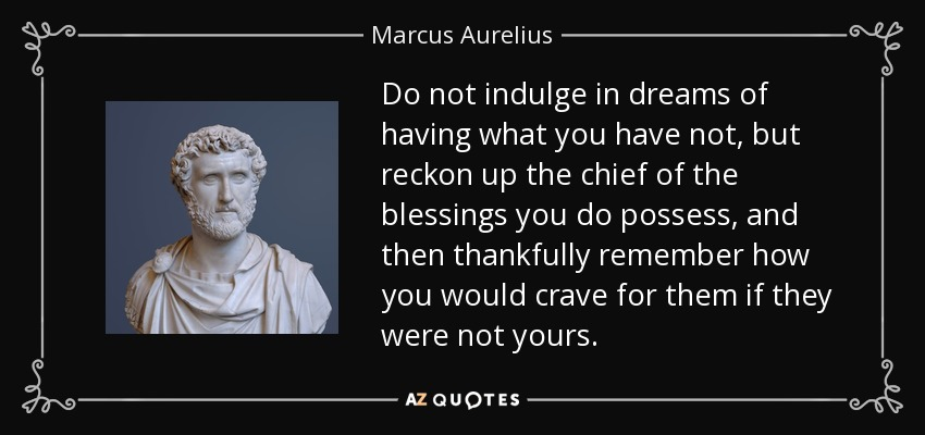 Do not indulge in dreams of having what you have not, but reckon up the chief of the blessings you do possess, and then thankfully remember how you would crave for them if they were not yours. - Marcus Aurelius