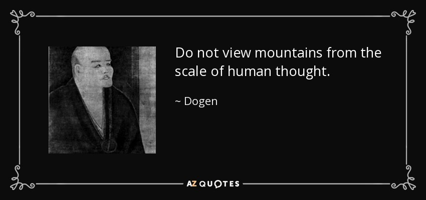 Do not view mountains from the scale of human thought. - Dogen