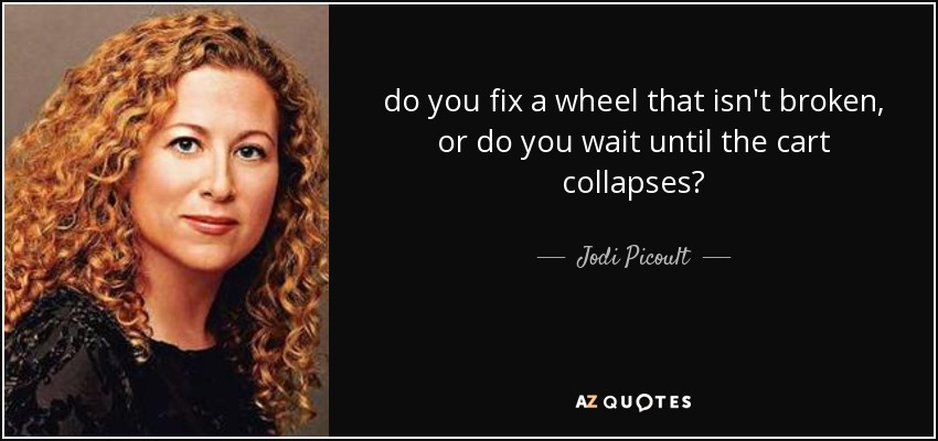 do you fix a wheel that isn't broken, or do you wait until the cart collapses? - Jodi Picoult