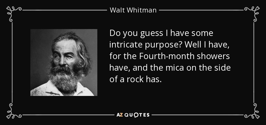 Do you guess I have some intricate purpose? Well I have, for the Fourth-month showers have, and the mica on the side of a rock has. - Walt Whitman