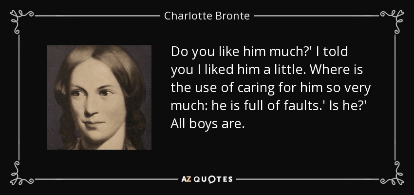 Do you like him much?' I told you I liked him a little. Where is the use of caring for him so very much: he is full of faults.' Is he?' All boys are. - Charlotte Bronte