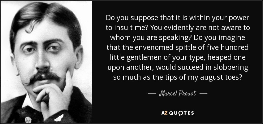 Do you suppose that it is within your power to insult me? You evidently are not aware to whom you are speaking? Do you imagine that the envenomed spittle of five hundred little gentlemen of your type, heaped one upon another, would succeed in slobbering so much as the tips of my august toes? - Marcel Proust