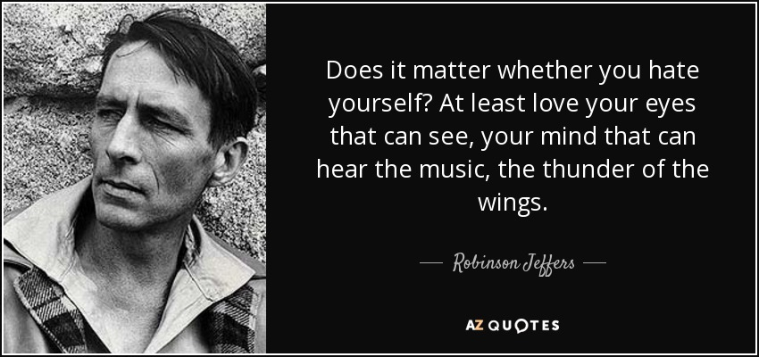 Does it matter whether you hate yourself? At least love your eyes that can see, your mind that can hear the music, the thunder of the wings. - Robinson Jeffers