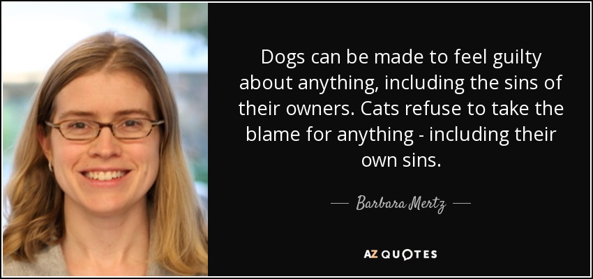 Dogs can be made to feel guilty about anything, including the sins of their owners. Cats refuse to take the blame for anything - including their own sins. - Barbara Mertz