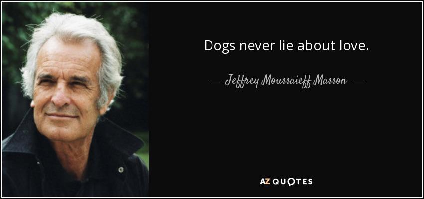 Dogs never lie about love. - Jeffrey Moussaieff Masson