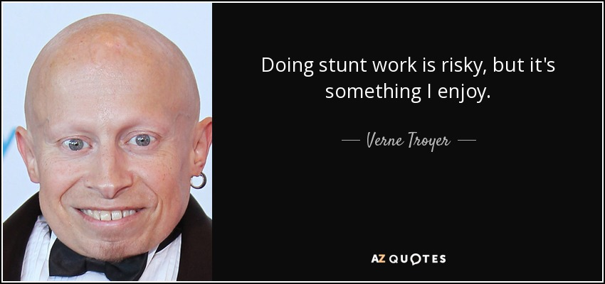 Doing stunt work is risky, but it's something I enjoy. - Verne Troyer