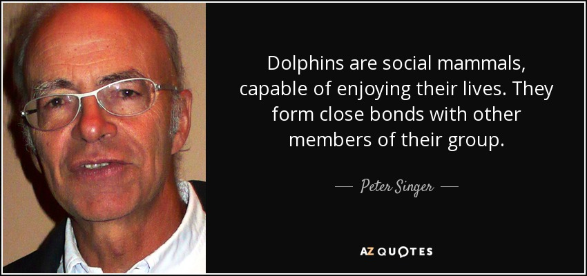 Dolphins are social mammals, capable of enjoying their lives. They form close bonds with other members of their group. - Peter Singer