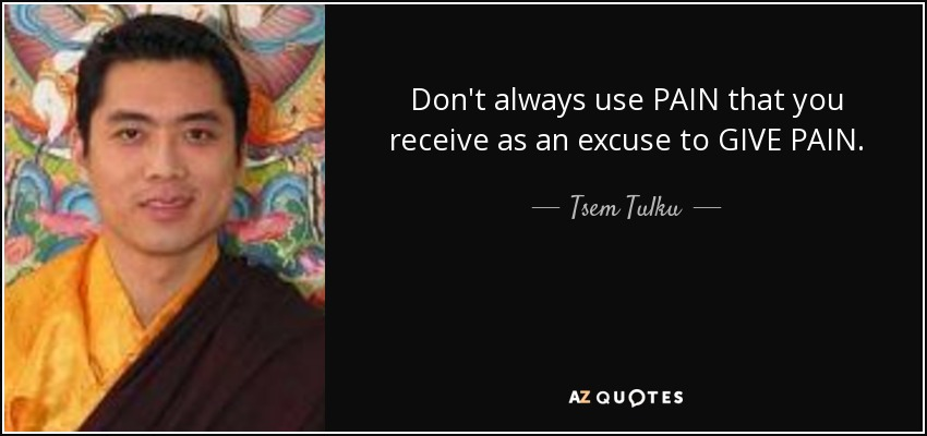 Don't always use PAIN that you receive as an excuse to GIVE PAIN. - Tsem Tulku