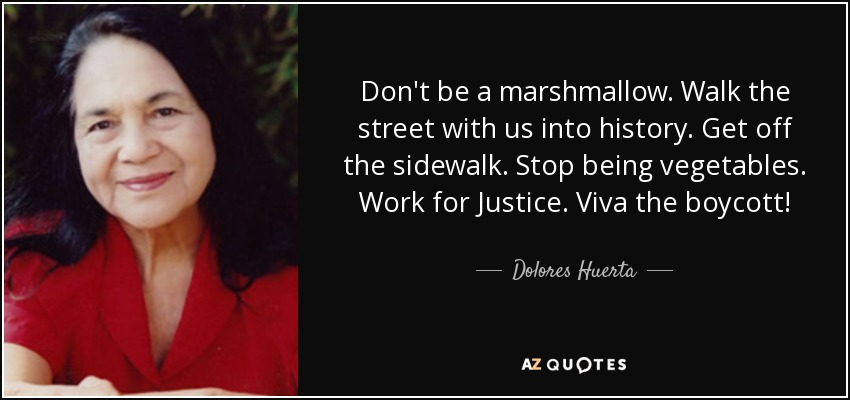 Don't be a marshmallow. Walk the street with us into history. Get off the sidewalk. Stop being vegetables. Work for Justice. Viva the boycott! - Dolores Huerta