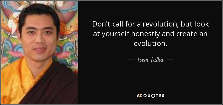 Don't call for a revolution, but look at yourself honestly and create an evolution. - Tsem Tulku