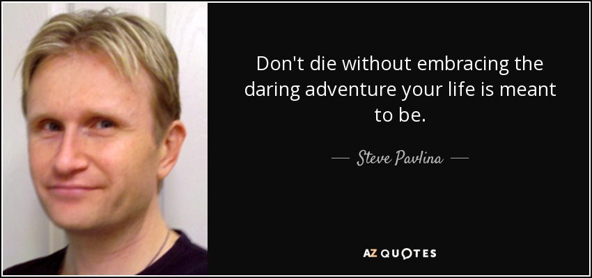 Don't die without embracing the daring adventure your life is meant to be. - Steve Pavlina
