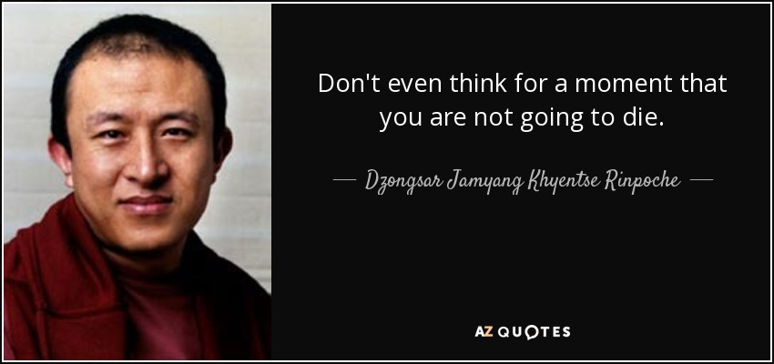 Don't even think for a moment that you are not going to die. - Dzongsar Jamyang Khyentse Rinpoche