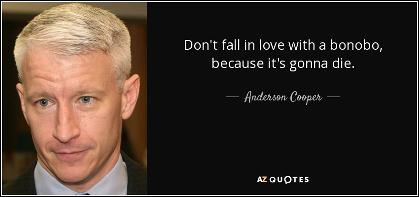 Don't fall in love with a bonobo, because it's gonna die. - Anderson Cooper