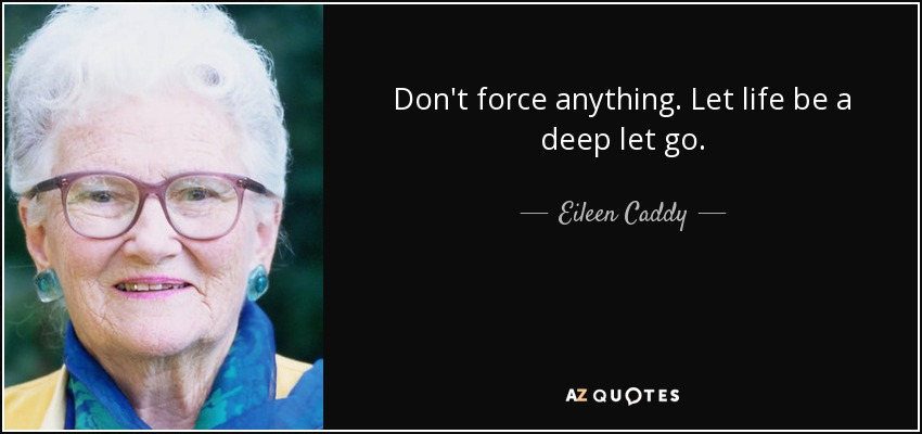 Don't force anything. Let life be a deep let go. - Eileen Caddy