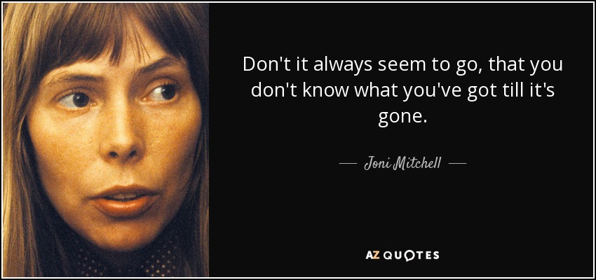 Don't it always seem to go, that you don't know what you've got till it's gone. - Joni Mitchell