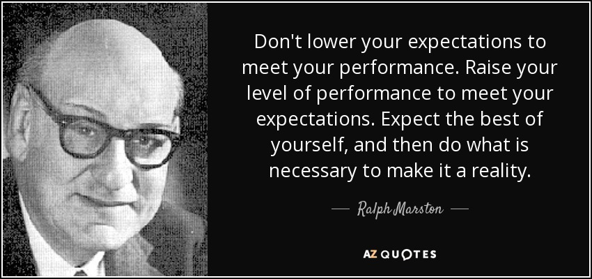 Don't lower your expectations to meet your performance. Raise your level of performance to meet your expectations. Expect the best of yourself, and then do what is necessary to make it a reality. - Ralph Marston