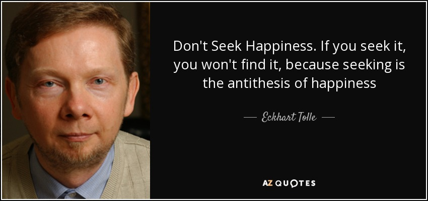 Don't Seek Happiness. If you seek it, you won't find it, because seeking is the antithesis of happiness - Eckhart Tolle