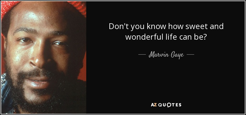 Don't you know how sweet and wonderful life can be? - Marvin Gaye