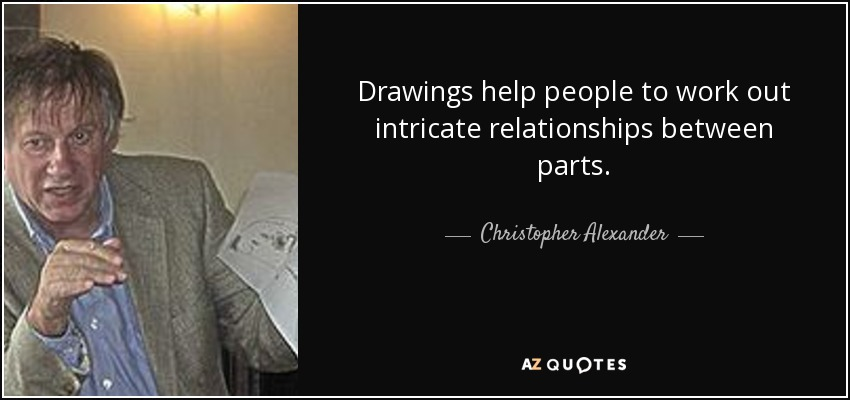 Drawings help people to work out intricate relationships between parts. - Christopher Alexander