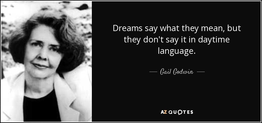 Dreams say what they mean, but they don't say it in daytime language. - Gail Godwin