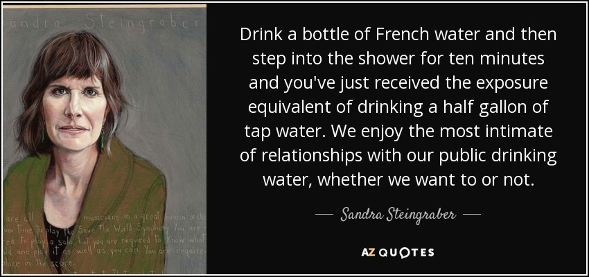 Drink a bottle of French water and then step into the shower for ten minutes and you've just received the exposure equivalent of drinking a half gallon of tap water. We enjoy the most intimate of relationships with our public drinking water, whether we want to or not. - Sandra Steingraber