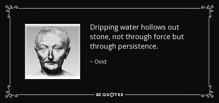 Dripping water hollows out stone, not through force but through persistence. - Ovid