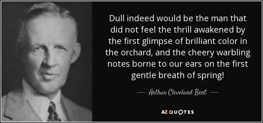 Dull indeed would be the man that did not feel the thrill awakened by the first glimpse of brilliant color in the orchard, and the cheery warbling notes borne to our ears on the first gentle breath of spring! - Arthur Cleveland Bent