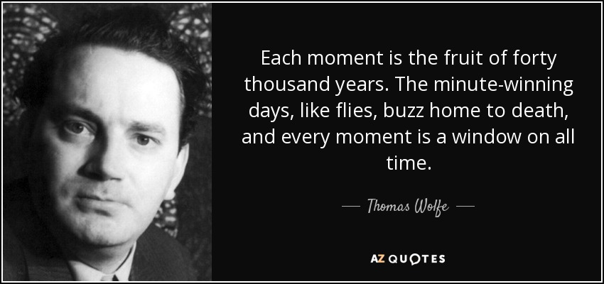 Each moment is the fruit of forty thousand years. The minute-winning days, like flies, buzz home to death, and every moment is a window on all time. - Thomas Wolfe