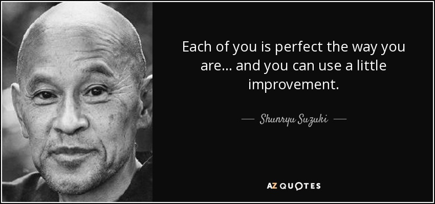 Each of you is perfect the way you are ... and you can use a little improvement. - Shunryu Suzuki