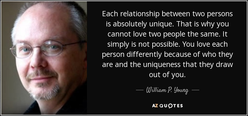 Each relationship between two persons is absolutely unique. That is why you cannot love two people the same. It simply is not possible. You love each person differently because of who they are and the uniqueness that they draw out of you. - William P. Young