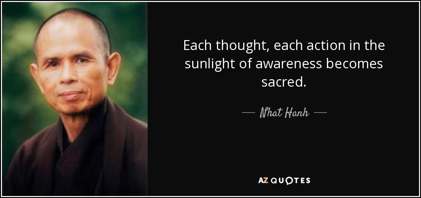Each thought, each action in the sunlight of awareness becomes sacred. - Nhat Hanh