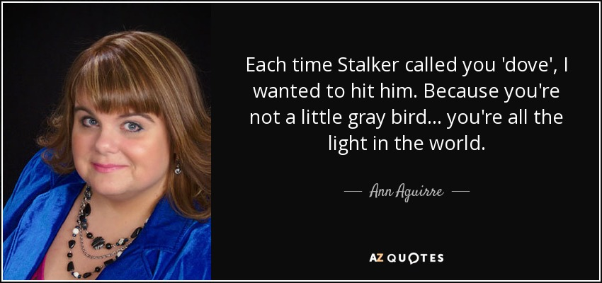Each time Stalker called you 'dove', I wanted to hit him. Because you're not a little gray bird... you're all the light in the world. - Ann Aguirre