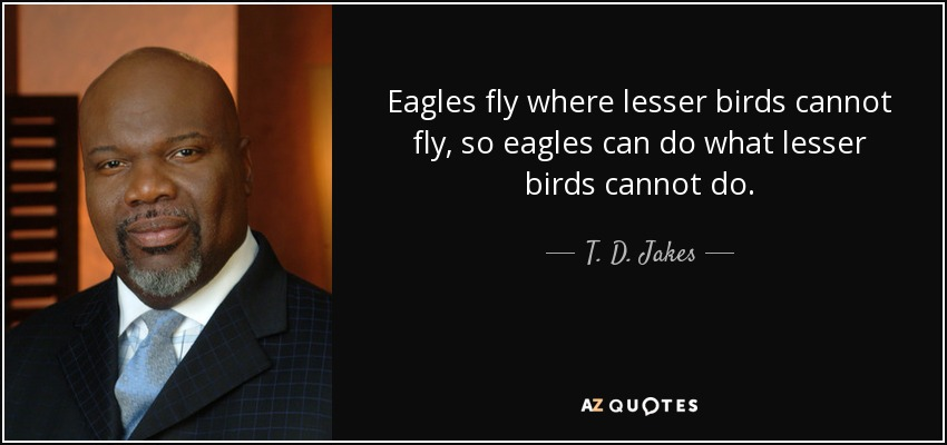 Eagles fly where lesser birds cannot fly, so eagles can do what lesser birds cannot do. - T. D. Jakes