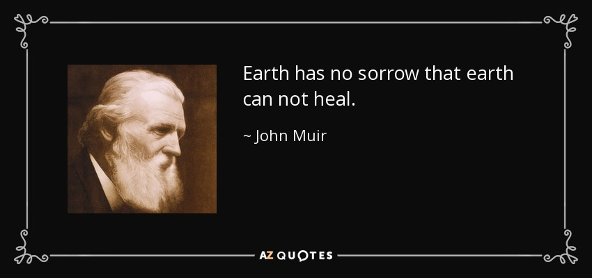 Earth has no sorrow that earth can not heal. - John Muir