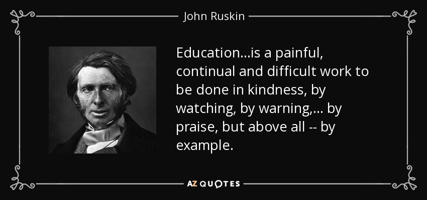 Education...is a painful, continual and difficult work to be done in kindness, by watching, by warning,... by praise, but above all -- by example. - John Ruskin