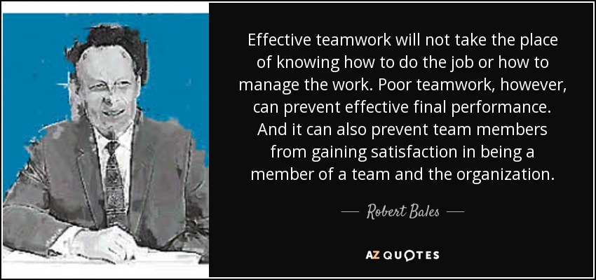 Effective teamwork will not take the place of knowing how to do the job or how to manage the work. Poor teamwork, however, can prevent effective final performance. And it can also prevent team members from gaining satisfaction in being a member of a team and the organization. - Robert Bales