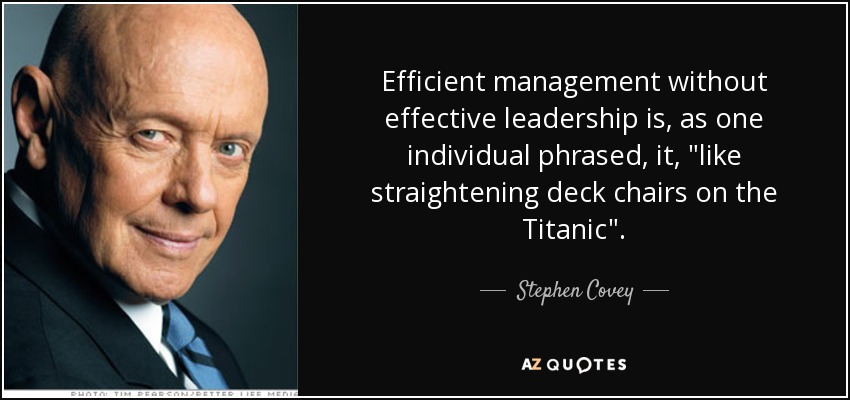 Efficient management without effective leadership is, as one individual phrased, it,