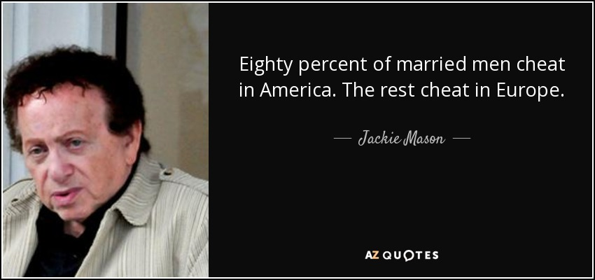 Eighty percent of married men cheat in America. The rest cheat in Europe. - Jackie Mason