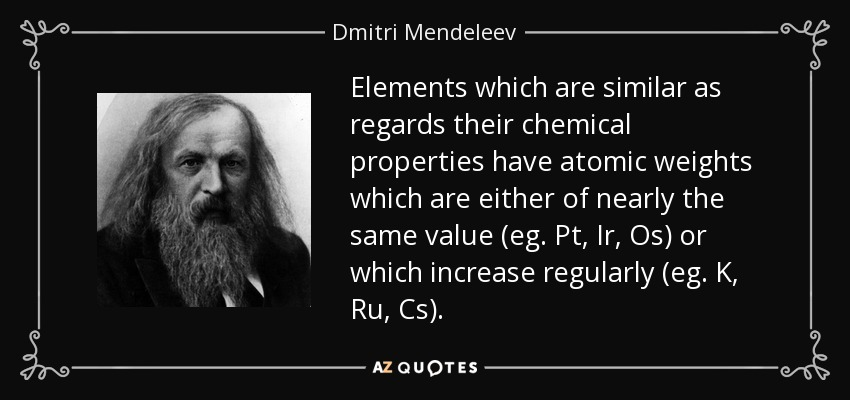 Elements which are similar as regards their chemical properties have atomic weights which are either of nearly the same value (eg. Pt, Ir, Os) or which increase regularly (eg. K, Ru, Cs). - Dmitri Mendeleev