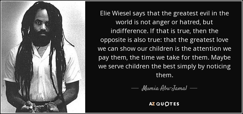 Elie Wiesel says that the greatest evil in the world is not anger or hatred, but indifference. If that is true, then the opposite is also true: that the greatest love we can show our children is the attention we pay them, the time we take for them. Maybe we serve children the best simply by noticing them. - Mumia Abu-Jamal