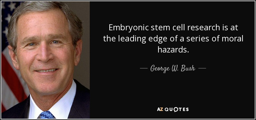 Embryonic stem cell research is at the leading edge of a series of moral hazards. - George W. Bush