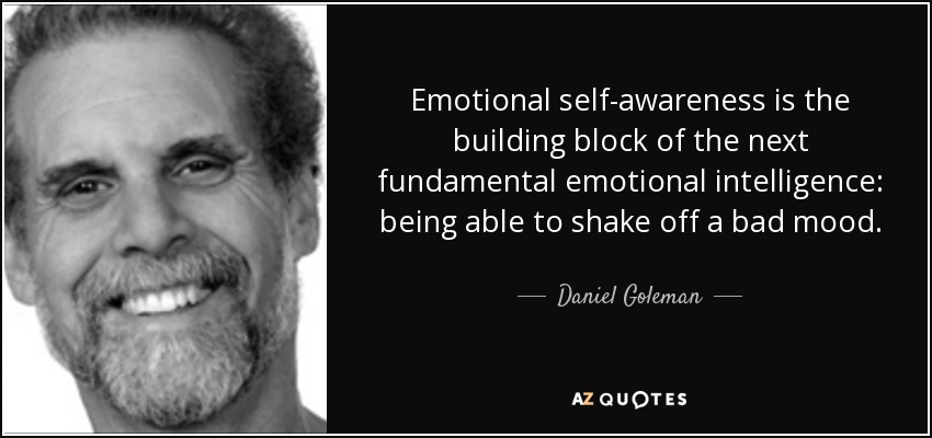 Emotional self-awareness is the building block of the next fundamental emotional intelligence: being able to shake off a bad mood. - Daniel Goleman