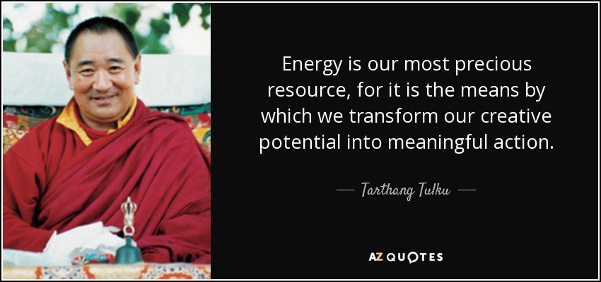 Energy is our most precious resource, for it is the means by which we transform our creative potential into meaningful action. - Tarthang Tulku