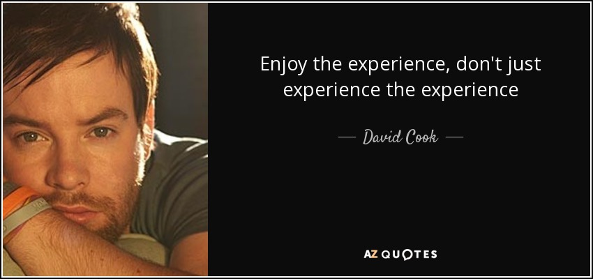 Enjoy the experience, don't just experience the experience - David Cook