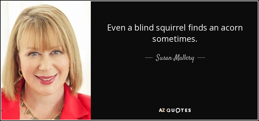 Even a blind squirrel finds an acorn sometimes. - Susan Mallery