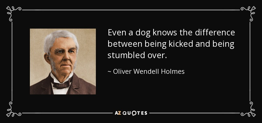 Even a dog knows the difference between being kicked and being stumbled over. - Oliver Wendell Holmes Sr.