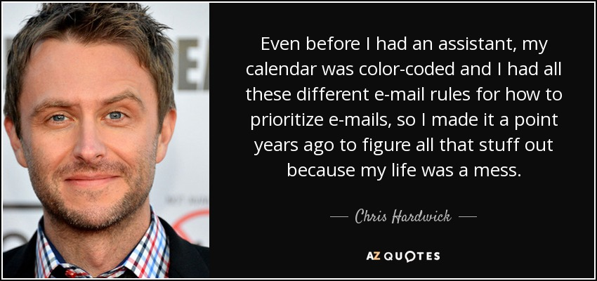 Even before I had an assistant, my calendar was color-coded and I had all these different e-mail rules for how to prioritize e-mails, so I made it a point years ago to figure all that stuff out because my life was a mess. - Chris Hardwick
