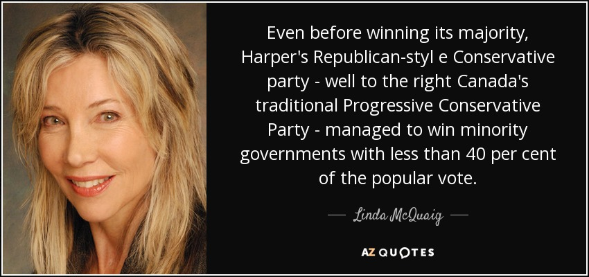 Even before winning its majority, Harper's Republican-styl e Conservative party - well to the right Canada's traditional Progressive Conservative Party - managed to win minority governments with less than 40 per cent of the popular vote. - Linda McQuaig
